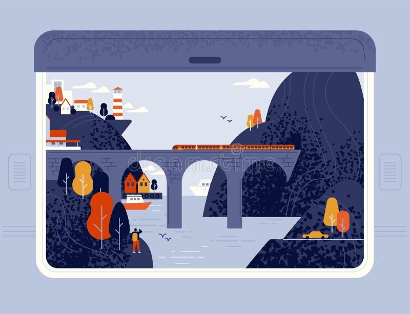 Drevfönstersikt på det sjösidastad, havet, fyren, klippor och järnvägsbron Runt om världen tur, järnväglopp eller royaltyfri illustrationer