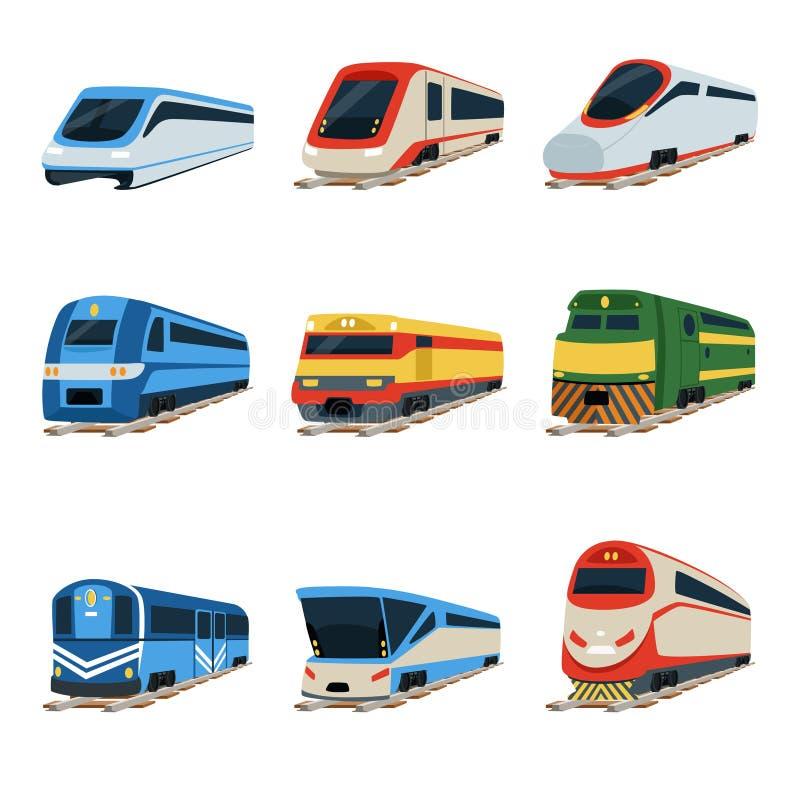 Drevlokomotivuppsättning, järnväg vagnsvektorillustrationer royaltyfri illustrationer