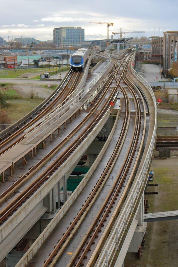 Drevspår för linje för Vancouver ` s Translink arkivfoton