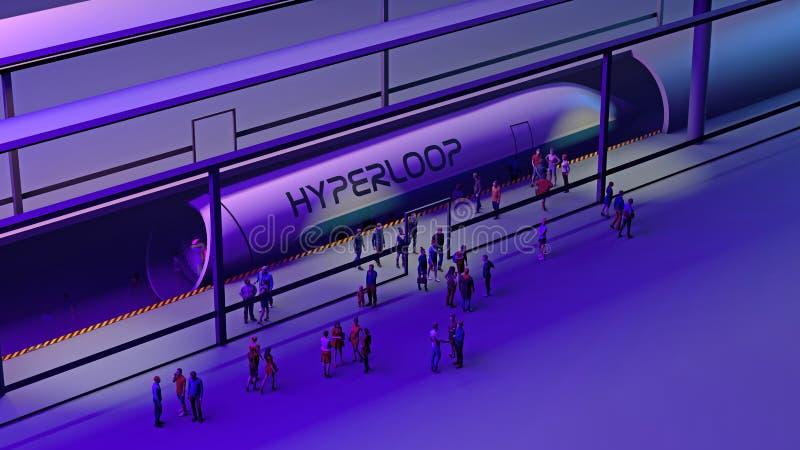 Drevstation och Hyperloop Passagerare som väntar på drevet Futuristisk teknologi för snabb transport royaltyfri illustrationer