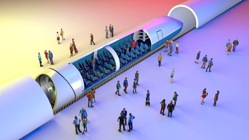 Drevstation och Hyperloop Passagerare som väntar på drevet Futuristisk teknologi för snabb transport stock illustrationer