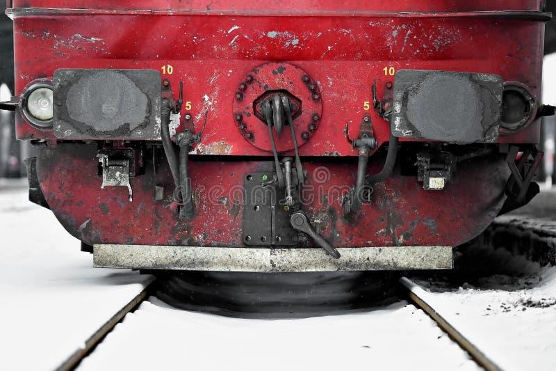 Drevvagnsammanlänkningar i vintertid arkivfoton