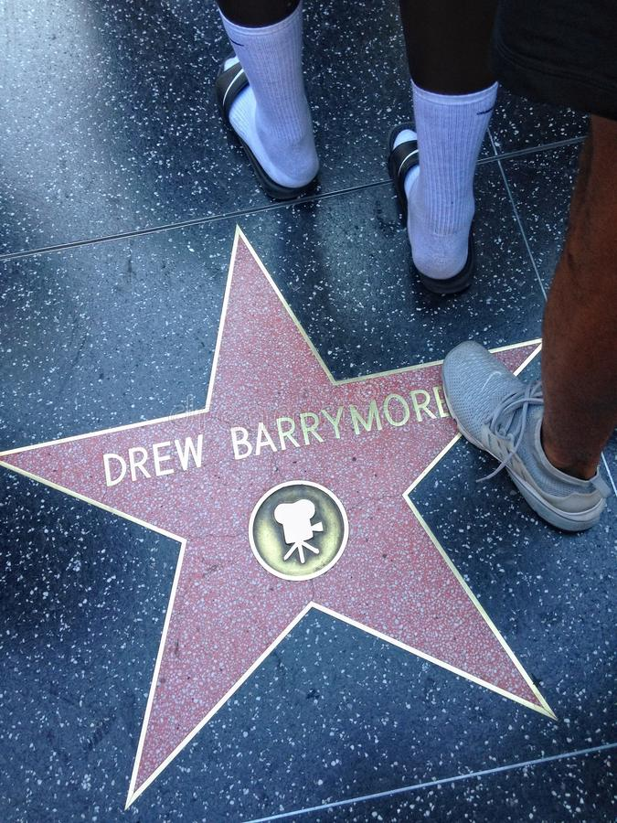 Drew Barrymore Hollywood walk of fame star. stock image
