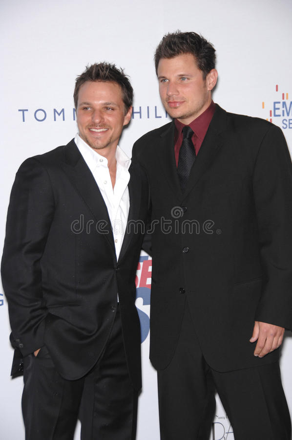 Drew Lachey, Nick Lachey. Drew Lachey (left) & Nick Lachey at the 14th Annual Race to Erase MS gala at the Hyatt Regency Century Plaza in Los Angeles. April 14 stock images