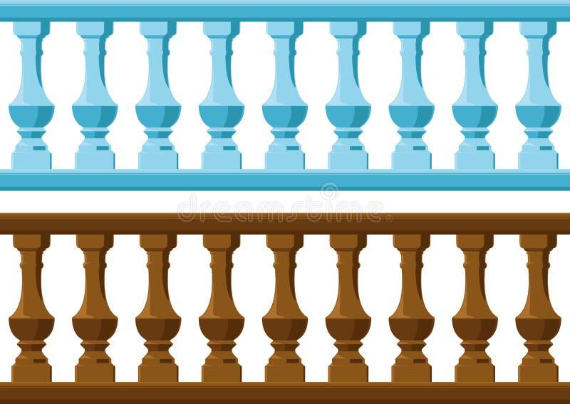 Drewna i kamienia poręcz ilustracja wektor
