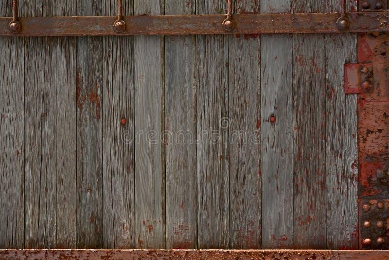Drewna i metalu ściana obrazy royalty free