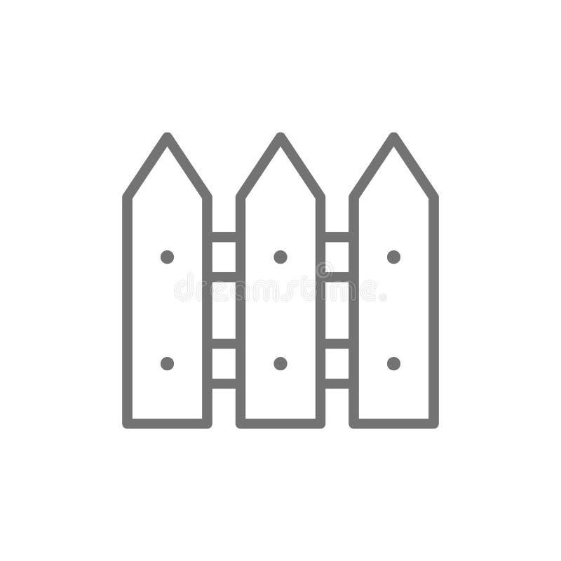 Drewna ogrodzenie, ?ciana, bariery linii ikona ilustracja wektor