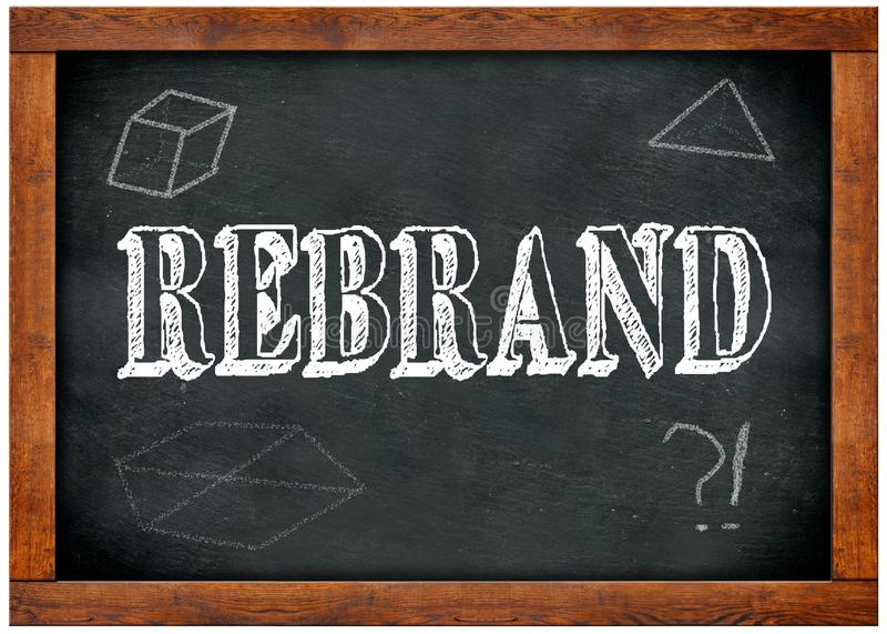 Drewna ramowy blackboard z REBRAND tekstem pisać z kredą ilustracja wektor