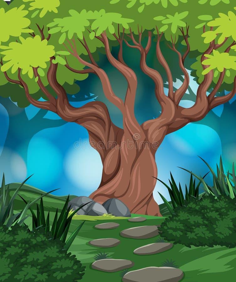 Drewna w natury scenie ilustracja wektor