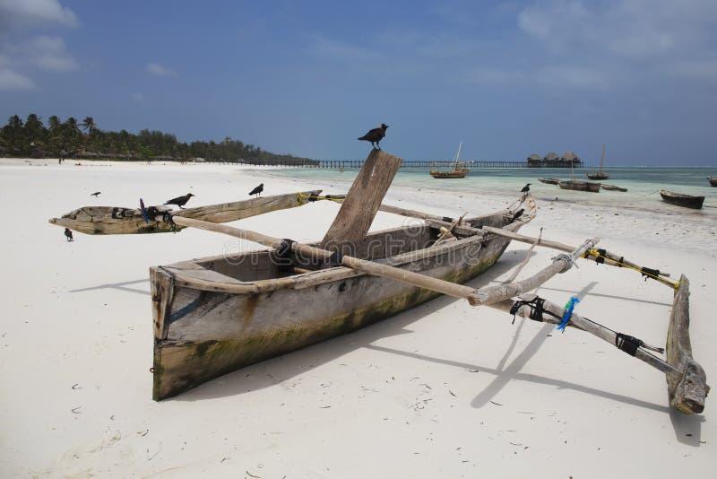 Drewniana łódź rybacka przy tropikalną plażą w Zanzibar wyspie, Tanzania obraz stock