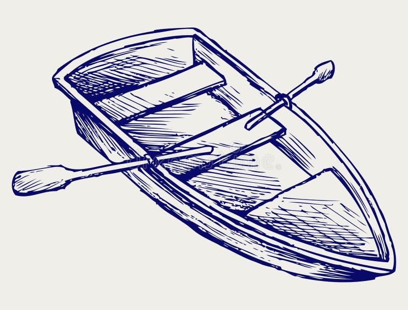 Drewniana łódź z paddles royalty ilustracja