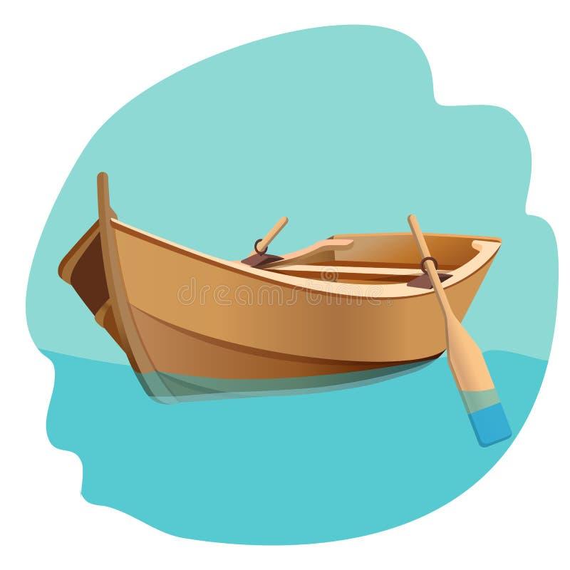 Drewniana łódź z wiosło wektorową ilustracją odizolowywającą na bielu ilustracja wektor