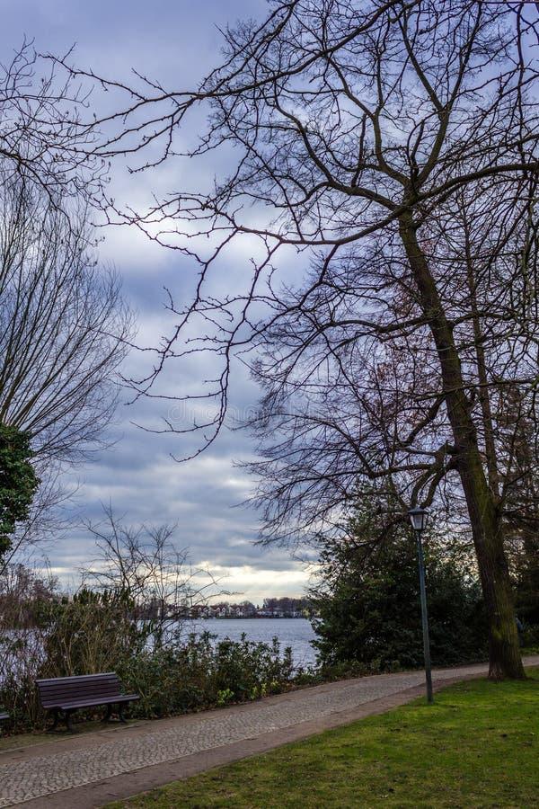 Drewniana ławka ścieżką, wather i drzewami brukowa, zdjęcia royalty free