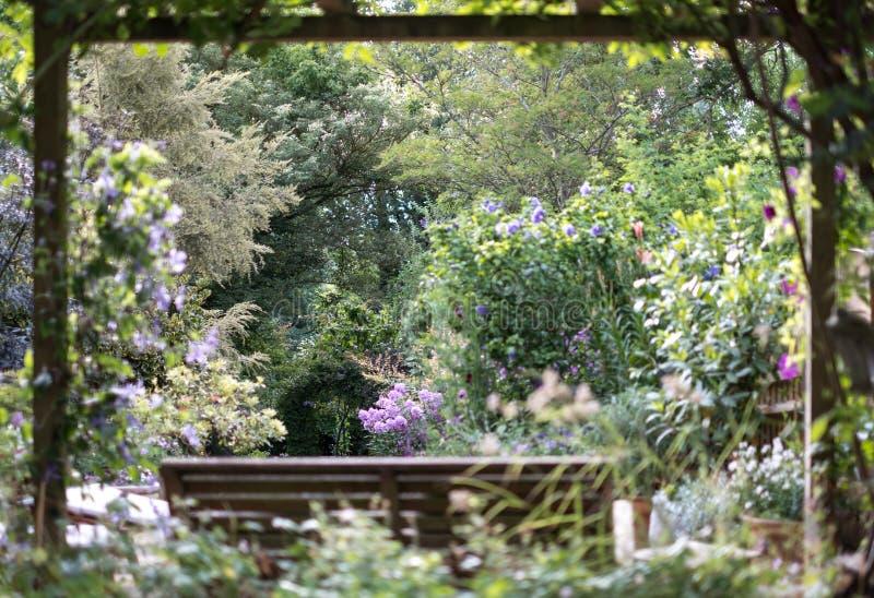 Drewniana ławka pod drewnianym baldachimem z widokiem na well utrzymującym, dobrze zaopatrujący ustronny ogród obrazy royalty free