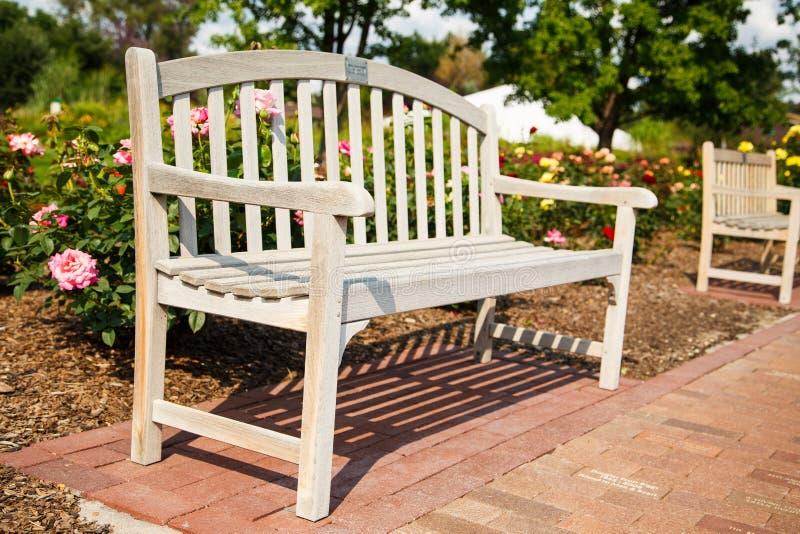 Drewniana ławka w Jawnym ogródzie różanym obrazy royalty free