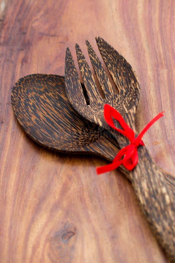 Drewniana łyżka i rozwidlenie obraz stock