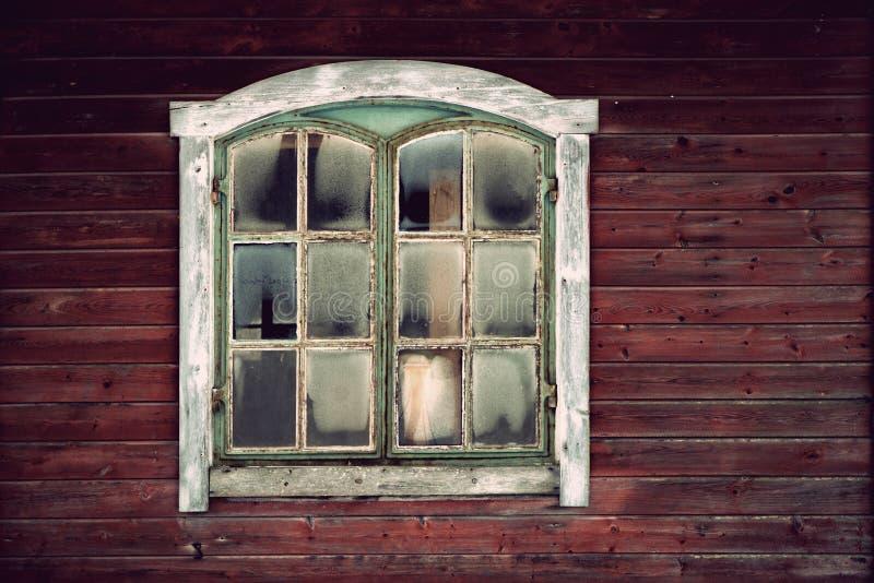Drewniana ściana z okno zdjęcie royalty free