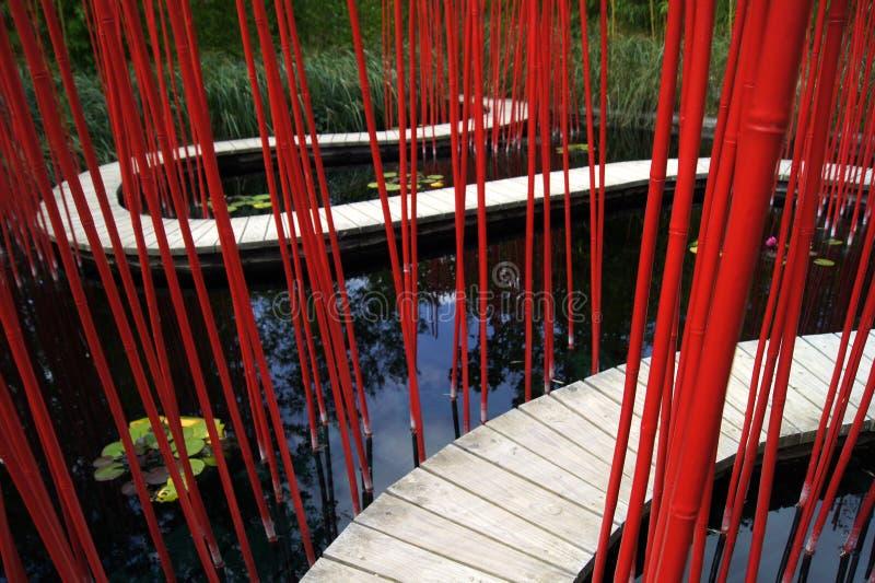 Drewniana ścieżka w Bambusowym ogródzie w parkowym Chaumont obrazy stock