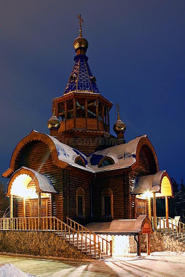 Drewniana świątynia w imię archanioła Michael obrazy stock