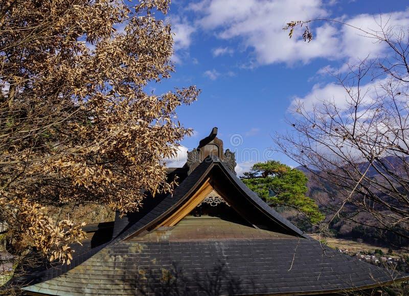 Drewniana świątynia w Yamadera, Japonia zdjęcia stock