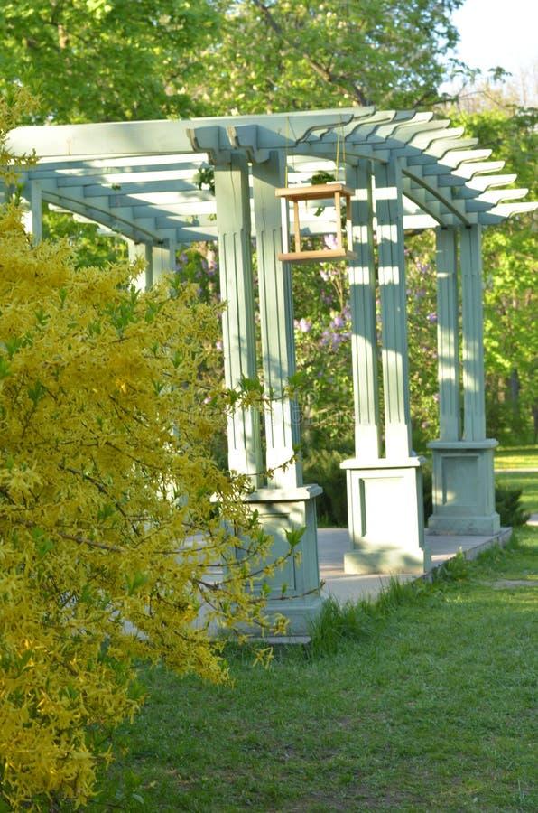 Błękitna ławka W Ogrodowej Altanie Zdjęcie Stock Obraz