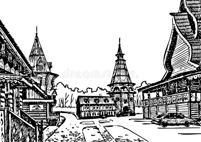 Drewniana architektura ilustracji