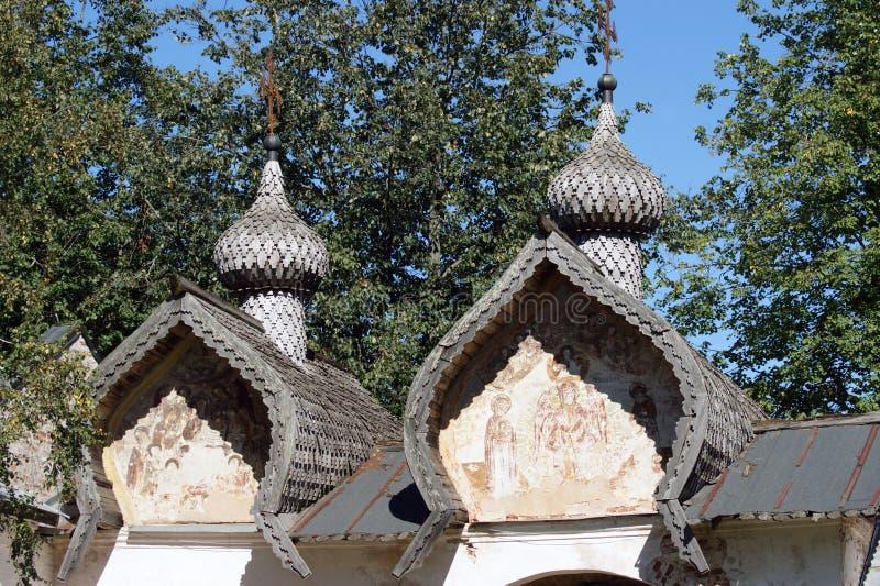 Drewniana architektura w Velikiy Novgorod, Rosja zdjęcia stock