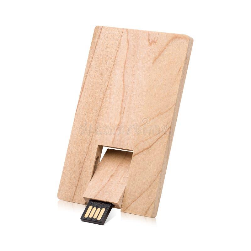 Drewniana b?ysk przeja?d?ka odizolowywaj?ca na bia?ym tle USB kij robi? od drewnianego materia?u w karcianym poj?cie stylu ?cinek fotografia royalty free