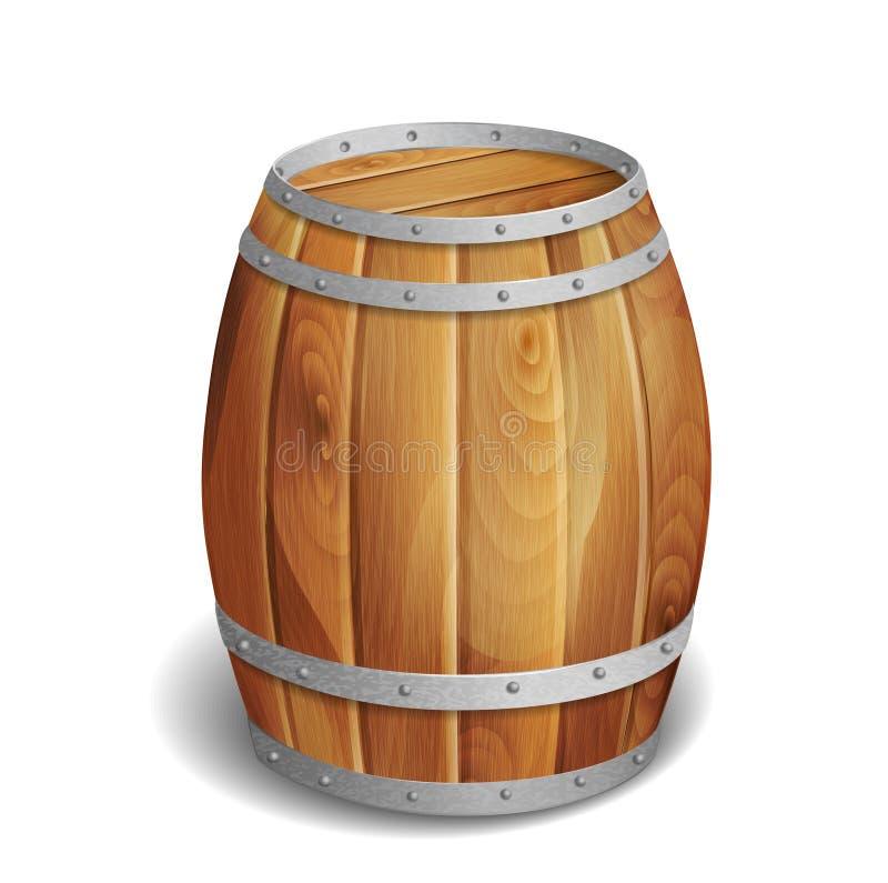 Drewniana baryłka ilustracja wektor
