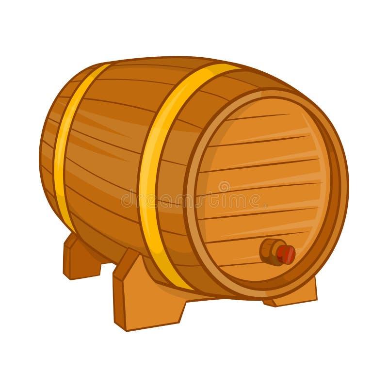 Drewniana baryłka dla piwnej ikony, kreskówka styl royalty ilustracja