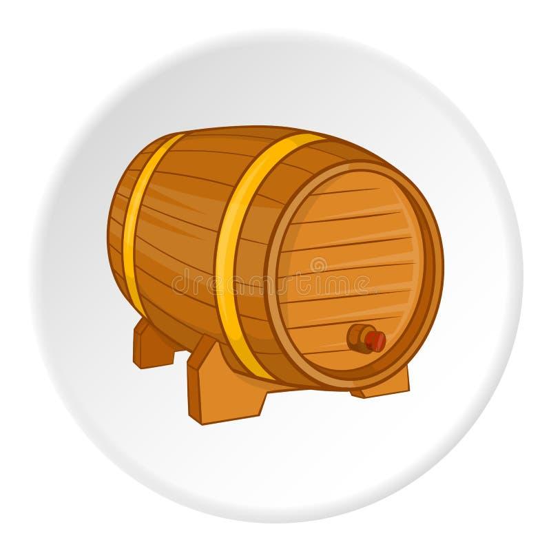 Drewniana baryłka dla piwnej ikony, kreskówka styl ilustracji