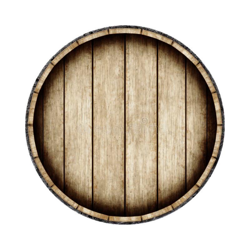 Drewniana baryłka odizolowywająca na białym tle, odgórny widok 3D renderi ilustracji