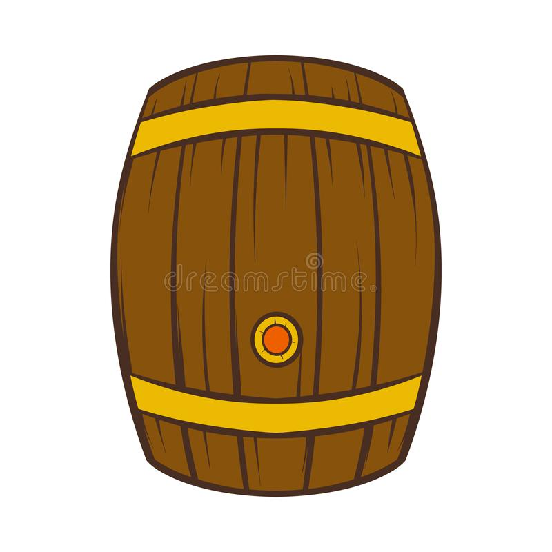 Drewniana baryłka piwo ikona, kreskówka styl royalty ilustracja