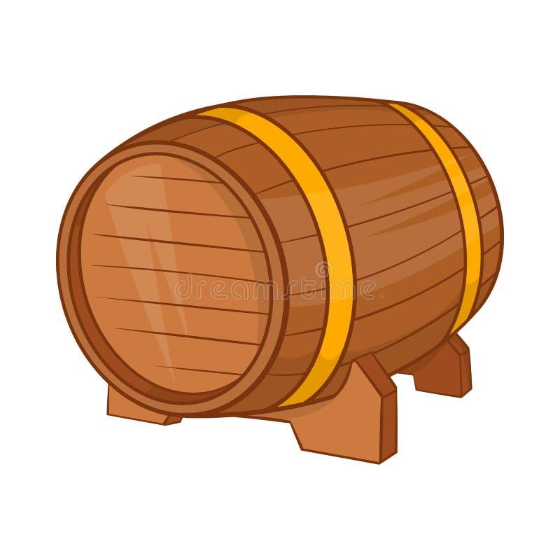Drewniana baryłka piwo ikona, kreskówka styl ilustracji
