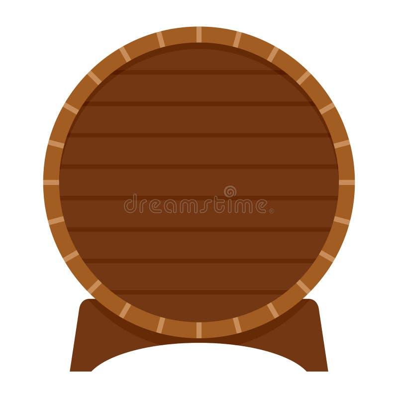 Drewniana baryłka piwo ikona, mieszkanie styl ilustracja wektor