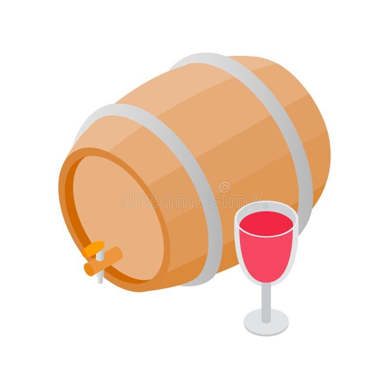 Drewniana baryłka wino z kranową isometric 3d ikoną royalty ilustracja