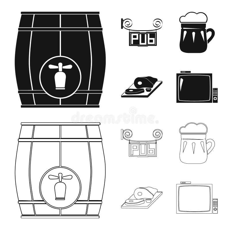 Drewniana baryłka z faucet, karczemny znak, kubek piwo, kawałki mięso na desce Pub ustalone inkasowe ikony w czerni ilustracji