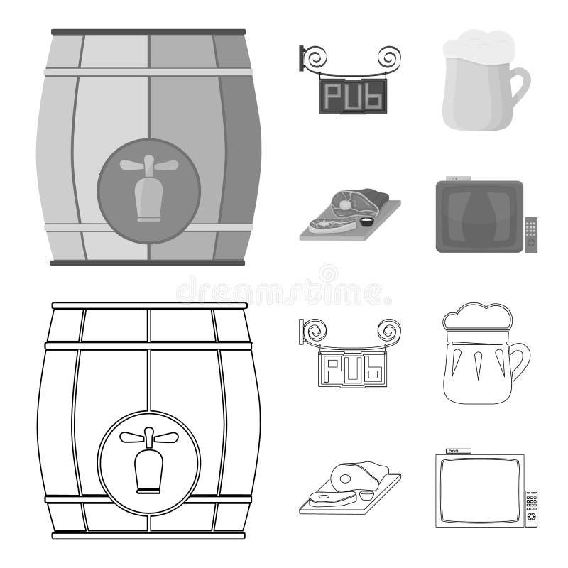 Drewniana baryłka z faucet, karczemny znak, kubek piwo, kawałki mięso na desce Pub ustalone inkasowe ikony w konturze ilustracji