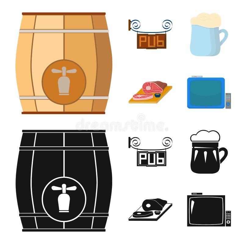 Drewniana baryłka z faucet, karczemny znak, kubek piwo, kawałki mięso na desce Pub ustalone inkasowe ikony w kreskówce royalty ilustracja