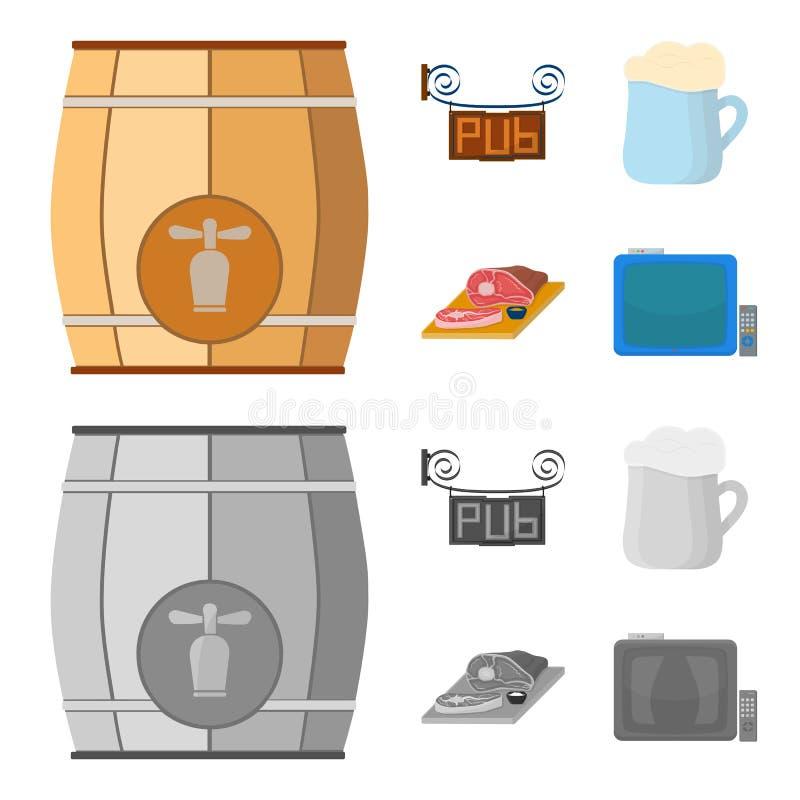 Drewniana baryłka z faucet, karczemny znak, kubek piwo, kawałki mięso na desce Pub ustalone inkasowe ikony w kreskówce ilustracja wektor