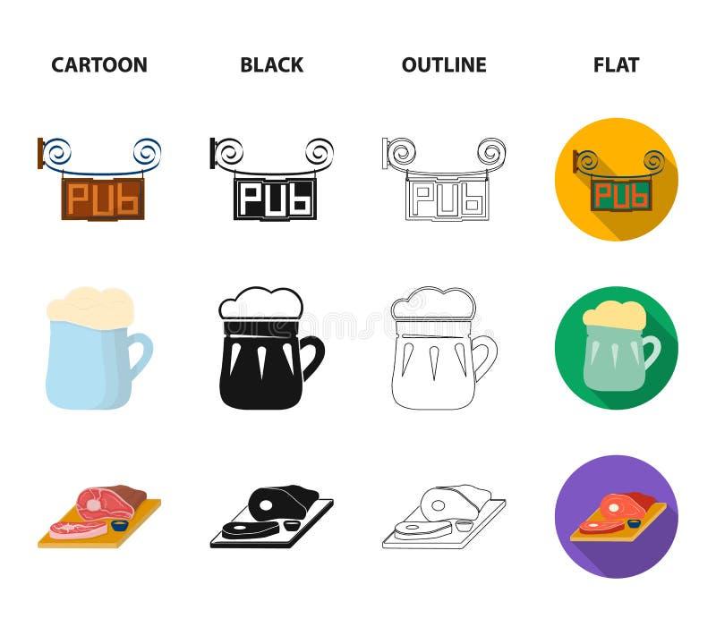 Drewniana baryłka z faucet, karczemny znak, kubek piwo, kawałki mięso na desce Pub ustalone inkasowe ikony w kreskówce ilustracji
