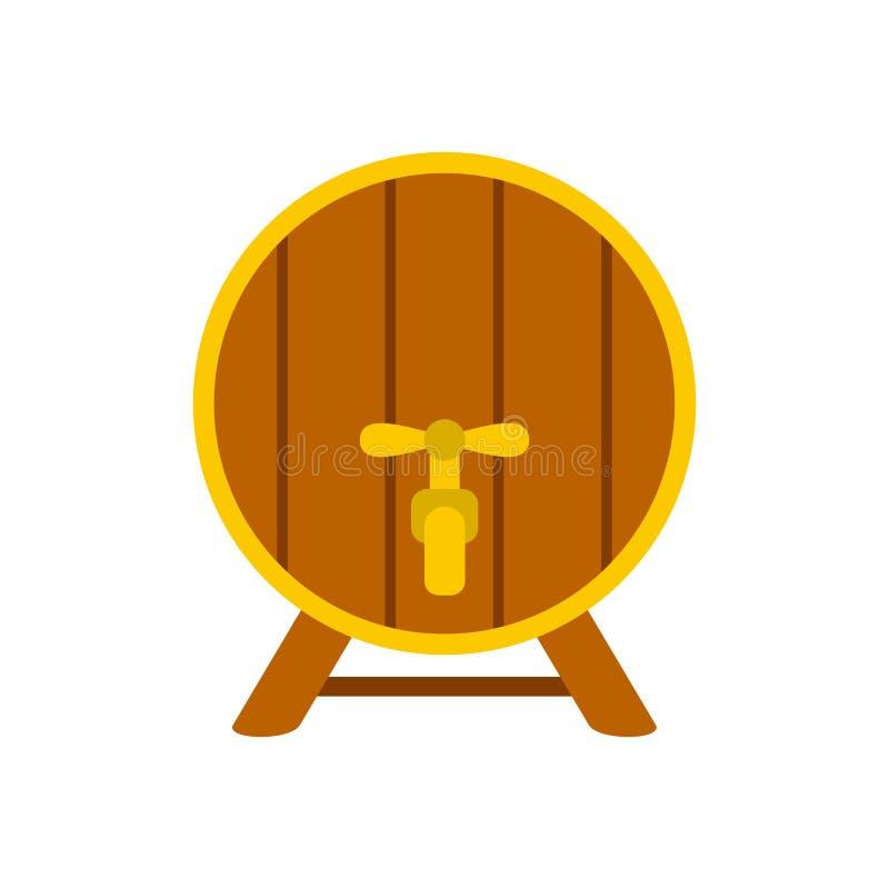 Drewniana baryłka z kranową ikoną, mieszkanie styl royalty ilustracja