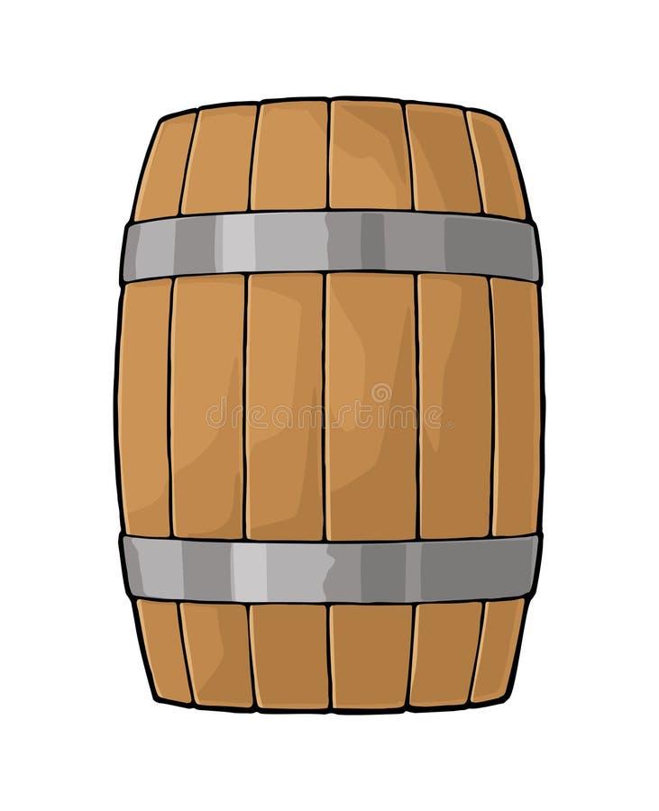 Drewniana baryłka z metali obręczami graweruje wektorową ilustrację royalty ilustracja