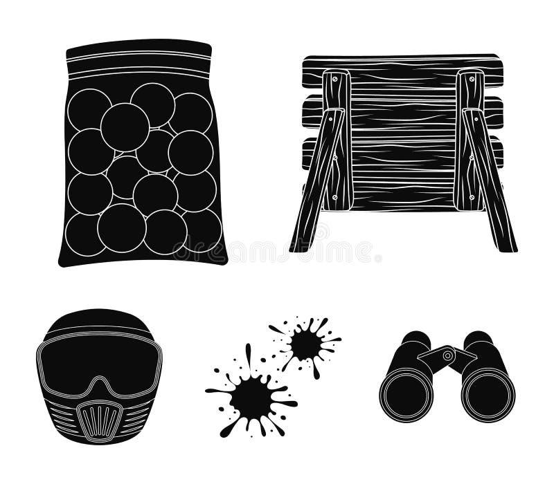 Drewniana barykada, ochronna maska i inni akcesoria, Paintball pojedyncza ikona w czerń stylu symbolu wektorowym zapasie royalty ilustracja