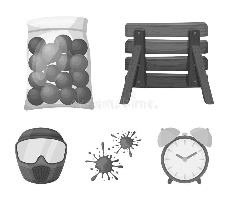 Drewniana barykada, ochronna maska i inni akcesoria, Paintball pojedyncza ikona w monochromu stylu symbolu wektorowym zapasie ilustracji