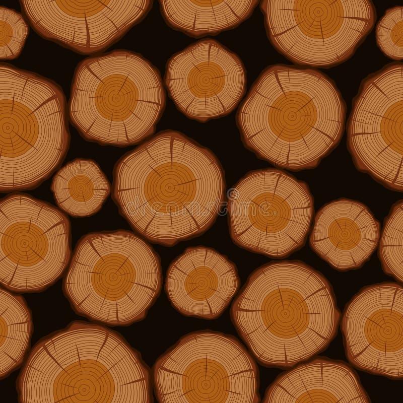 Drewniana bela ciie bezszwowego deseniowego tło ilustracja wektor