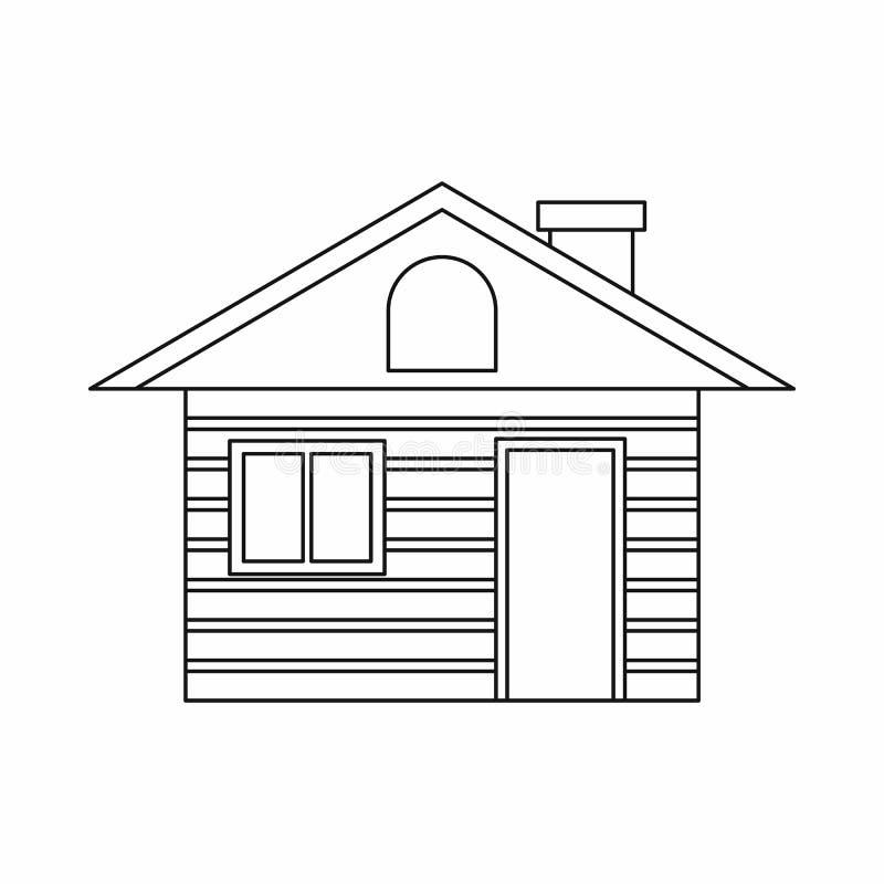 Drewniana bela domu ikona, konturu styl ilustracji
