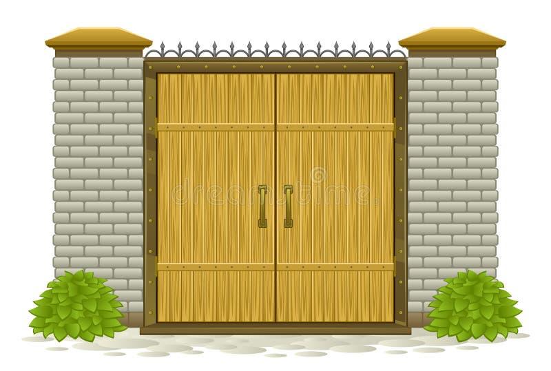 Drewniana brama ilustracja wektor