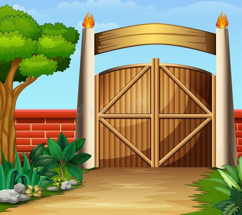 Drewniana brama w pięknej naturze ilustracji
