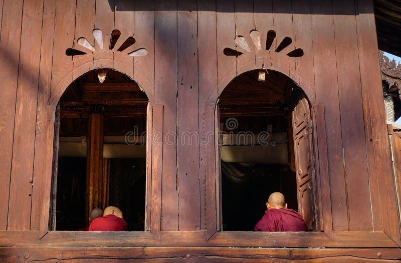 Drewniana Buddyjska świątynia w shanu stanie, Myanmar zdjęcie royalty free